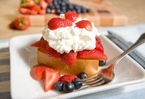 Poundcake, homemade whipped cream, and strawberries.  The All American dessert.