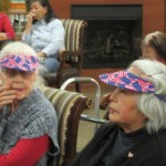 Donna and Jane wearing their red, white and blue visors.