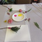 Using yarn to tie the rosemary, pine leaves on a stick made it easy to handle when dipping into the paint.