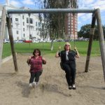 Cheryl and Marsha took a turn on the swing set which was a blast from the past!!