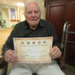 Herbert was also in the Army and held onto his certificate of appreciation all day!!