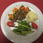 Filet and shrimp, fresh asparagus, and creamy mashed potatoes!!